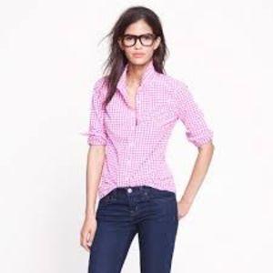 J. Crew Perfect Shirt in Pink Mini-Gingham